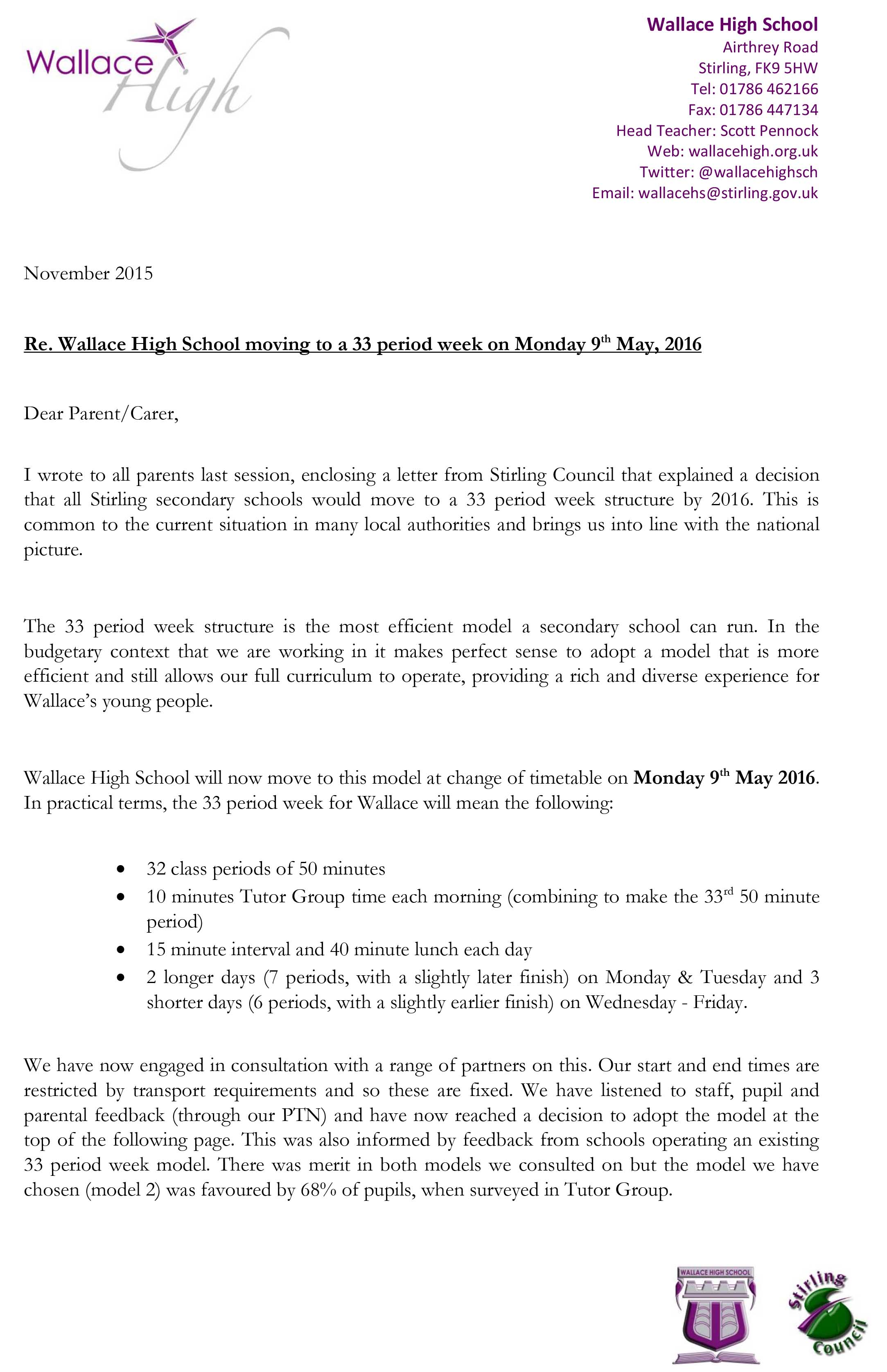 Head Teacher's Letter - 33 Period Week - News - Wallace High School